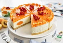 Cheesecake cu caise fara coacere